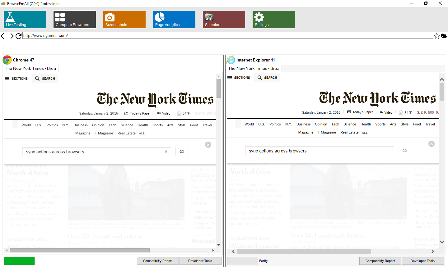 Test different browsers side by side